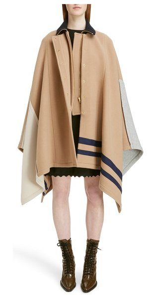 Chloe iconic stripe wool blend cape in worn brown - Creative director Natacha Ramsay-Levi reimagines the...