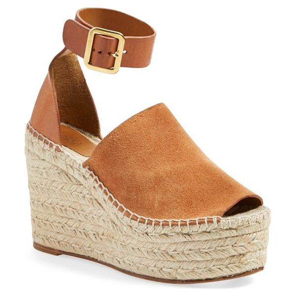 Chloe isa espadrille wedge sandal in brown suede - Chloe takes the espadrille to new heights with the Isa...