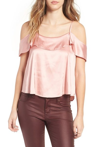 CHLOE & KATIE cold shoulder satin top - Tiers of draped satin contribute to the effortless...