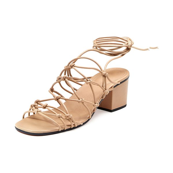 "Chloe Knotted Ankle-Wrap Sandal in medium pink - Chloe knotted lambskin sandal. 2"" covered heel. Open..."