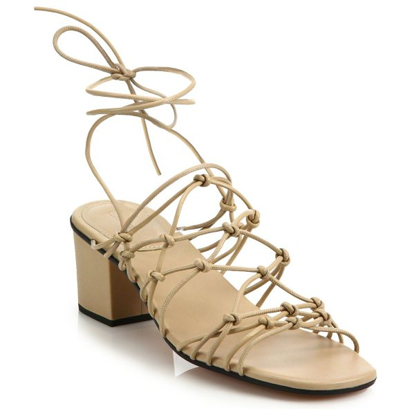 Chloe Knotted leather lace-up block-heel sandals in mediumpink
