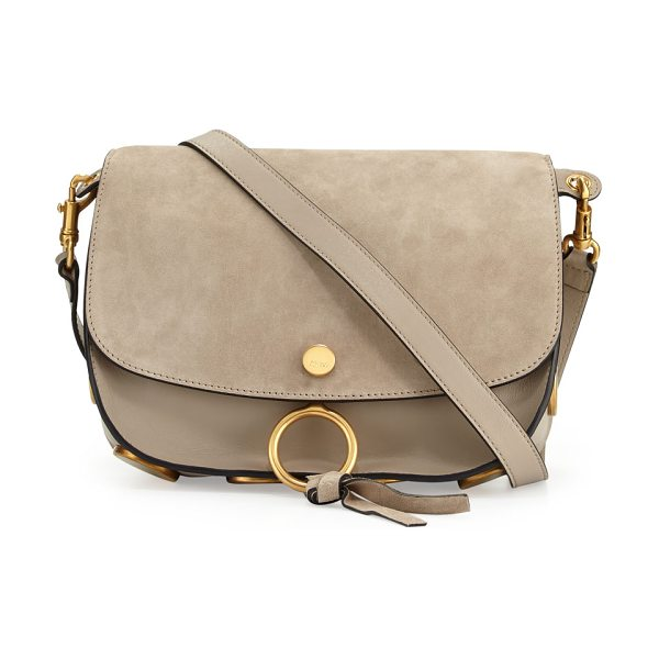 CHLOE Kurtis Medium Suede/Leather Studded Shoulder Bag - Chloe calfskin shoulder bag with brass hardware....