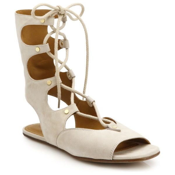 Chloe Lace-up flat suede sandals in cream