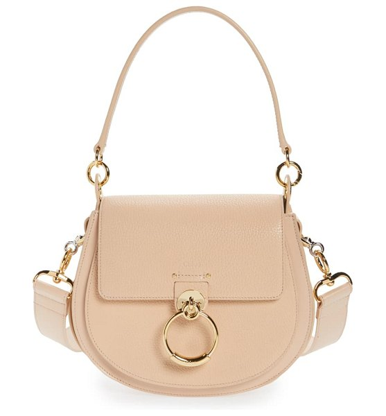 Chloe large tess grained lambskin leather shoulder bag in pink