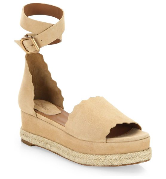 Chloe lauren ankle wrap espadrilles in reefshell - Chic espadrilles in buttery scalloped suede....