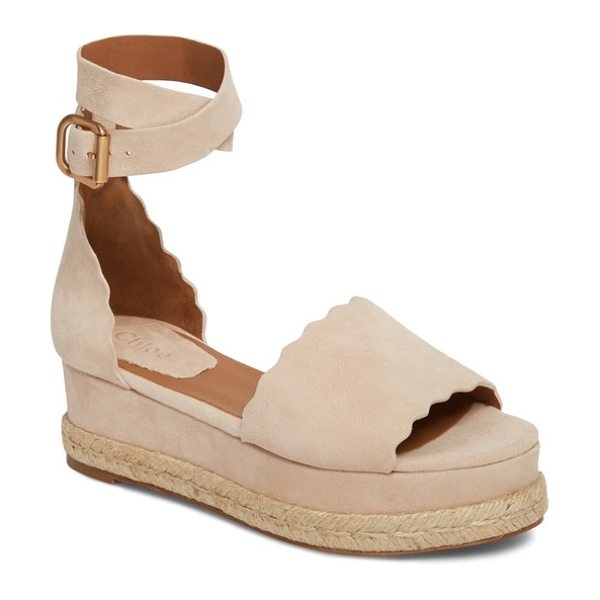 Chloe lauren espadrille wedge sandal in maple pink - An open-toe sandal cut from lush suede features a...
