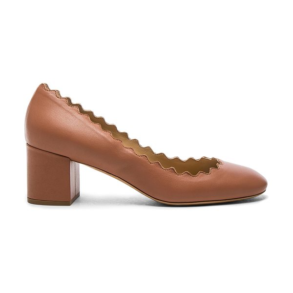CHLOE Lauren Leather Scallop Pumps - Leather upper and sole. Made in Italy. Approx 50mm/ 2...