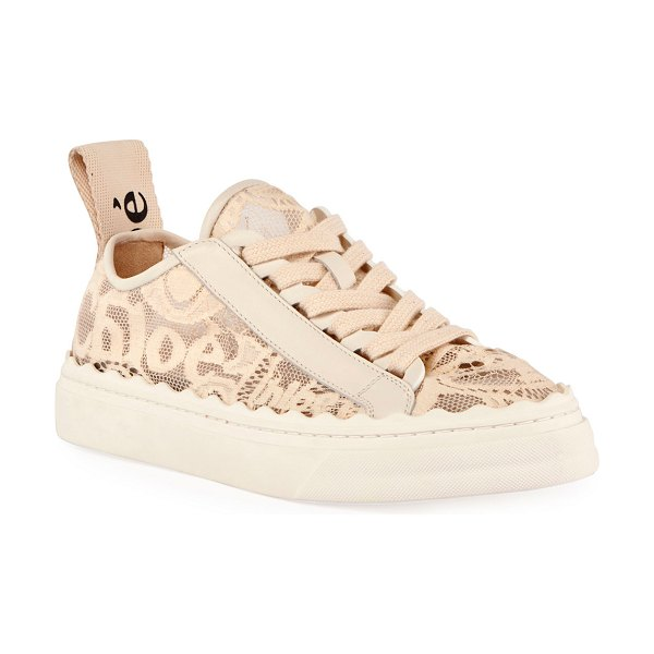 Chloe Lauren Logo Lace Low-Top Sneakers in beige