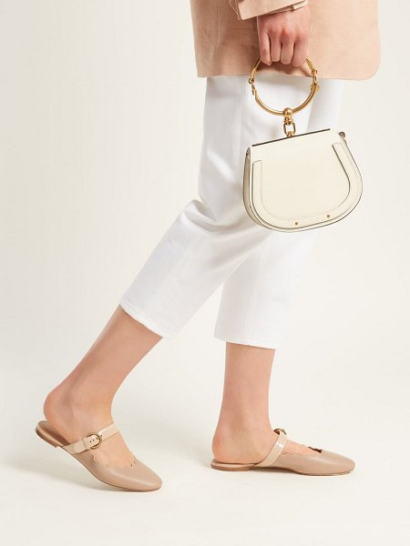 Chloe Lauren Scallop Edge Leather Backless Loafers in nude