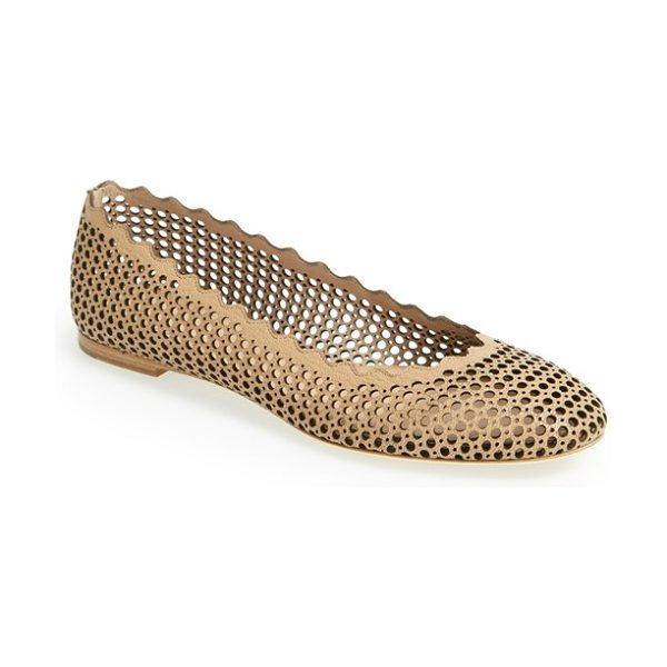 Chloe lauren scalloped ballerina flat in beige rose - A scalloped topline puts a signature touch on a classic...