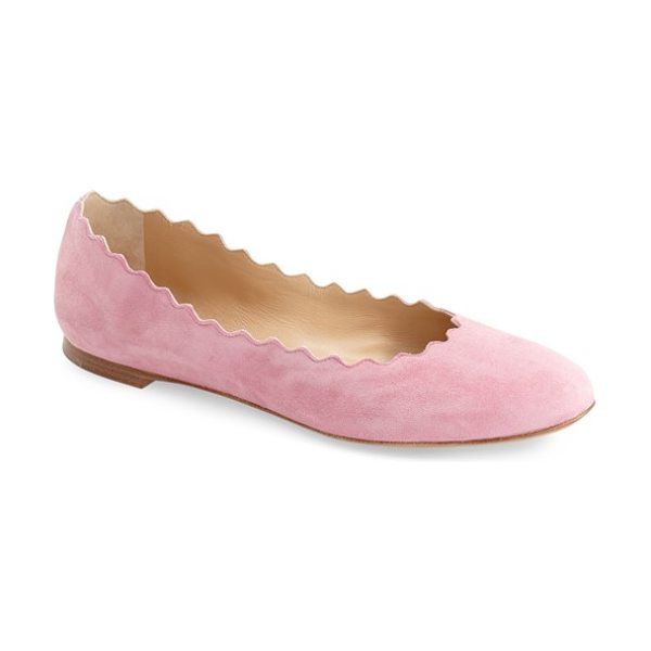 Chloe lauren scalloped ballet flat in faded pink - A scalloped topline lends feminine elegance to a...