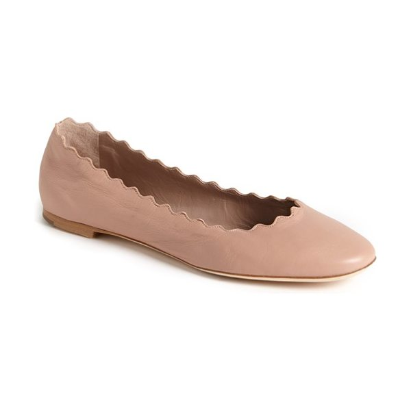 Chloe 'lauren' scalloped ballet flat in beige - A scalloped topline lends carefree style to a cute and...