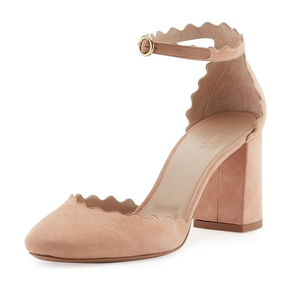 """CHLOE Lauren Scalloped d'Orsay Pump - Chloe suede pump with scalloped trim. 3"""" covered block..."""