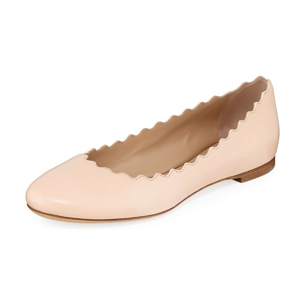 Chloe Lauren Scalloped Leather Ballet Flats in delicate pink