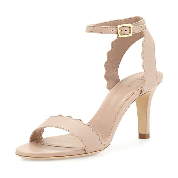"Chloe Lauren scalloped leather sandal in nude - Chloe leather sandal with scalloped trim. 3"" covered..."