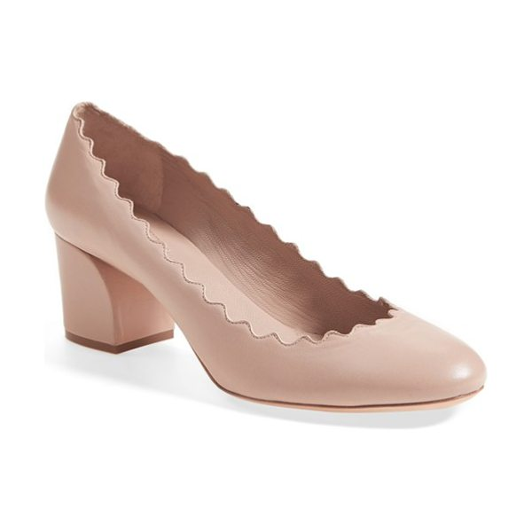 Chloe lauren scalloped pump in pink leather - A scalloped topline puts a signature touch on a classic...