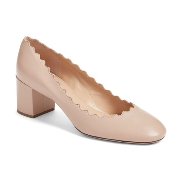 Chloe lauren scalloped pump in pink tea leather - A vintage-inspired block heel beautifully balances the...