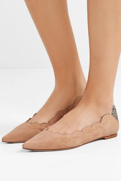 Chloe lauren scalloped suede and snake-effect leather point-toe flats in beige - Between the sleek pointed toe and playful scalloped...