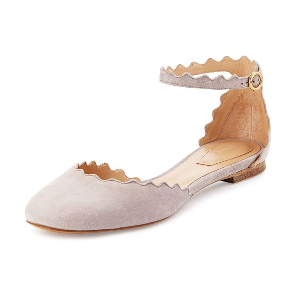 Chloe Lauren Scalloped Suede Ankle-Strap Flat in elephant gray - ONLYATNM Only Here. Only Ours. Exclusively for You....