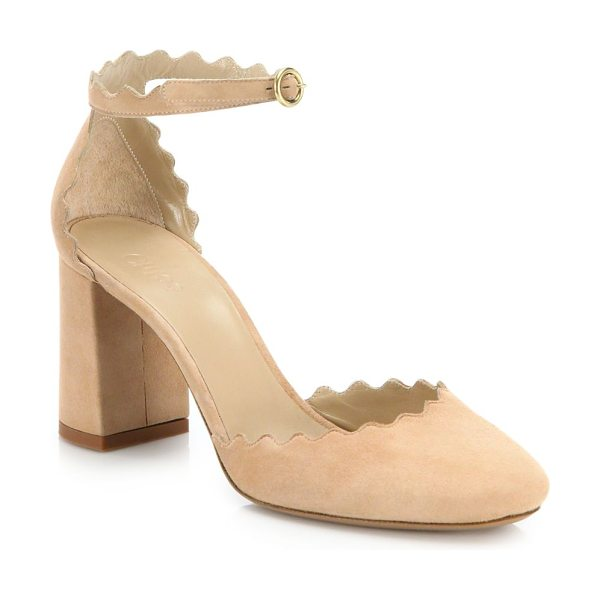 Chloe lauren scalloped suede d'orsay block heel pumps in reef shell - Chic suede d'Orsay pump with signature scalloped trim...