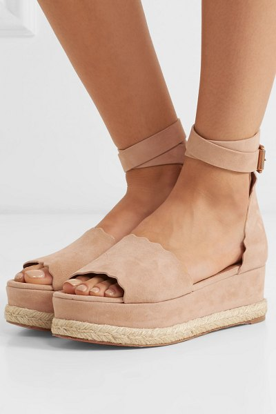 Chloe lauren suede espadrille platform sandals in sand - As is traditional for espadrilles, Chloé's sandals have...
