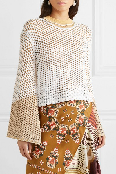 Chloe layered crochet and open-knit sweater in sand