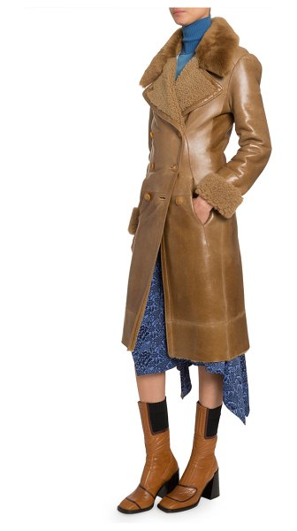 Chloe Leather Double-Breasted Coat in beige