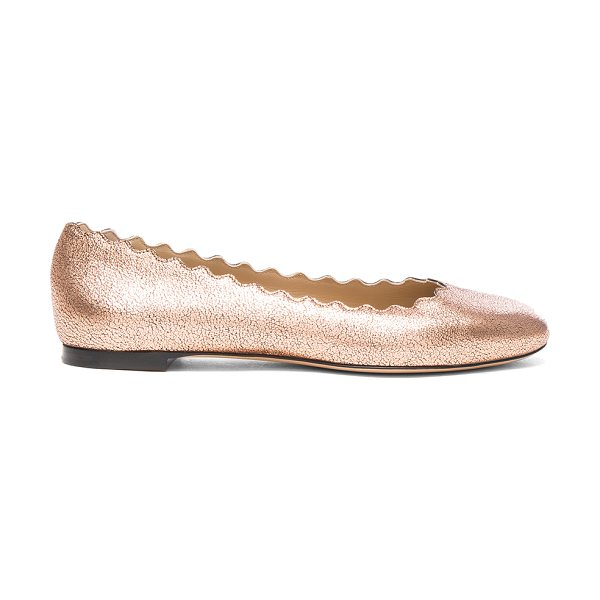 Chloe Lauren Leather Flats in pink gold - Leather upper and sole. Made in Italy. Scalloped edges....
