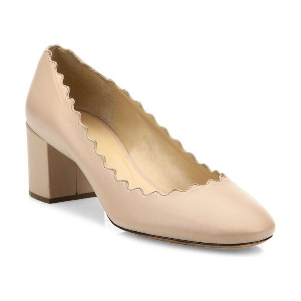 Chloe lauren leather block heel pumps in pink tea - Signature scalloped leather style set on block heel...