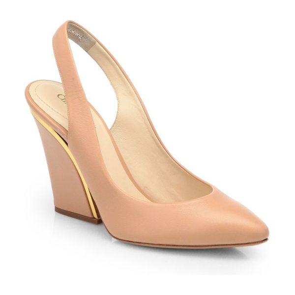 Chloe Leather wedge slingback pumps in nude - A sleek metal detail shines on an impeccably crafted...