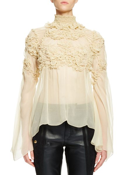 CHLOE Long-Sleeve Mock-Neck Rosette Top - Chloe sheer crepon blouse with tonal rosette embroidery...
