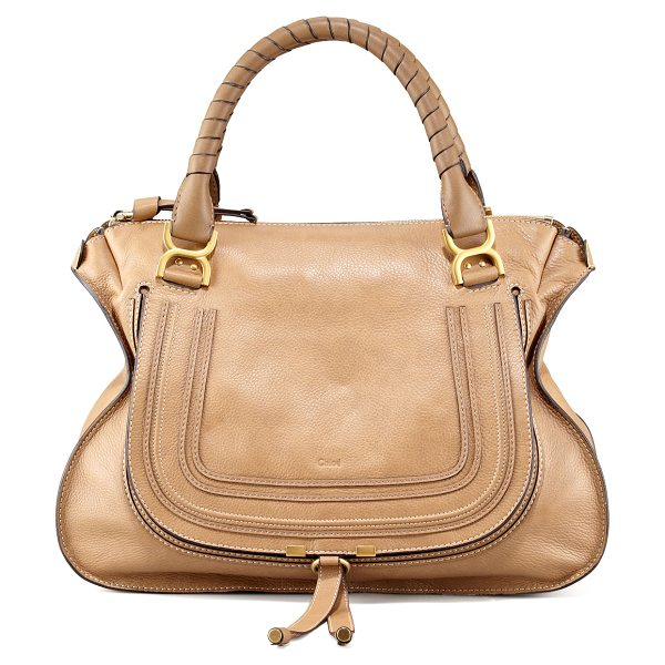 Chloe Marcie large leather satchel bag in nut/tan