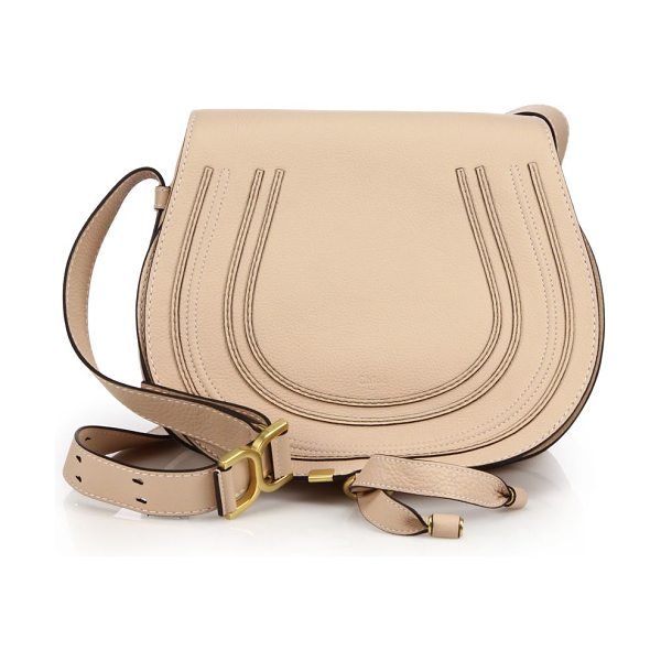 CHLOE Marcie medium crossbody bag in blushnude - Crafted from rich leather in a crossbody design, this...