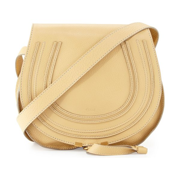 CHLOE Marcie Medium Leather Crossbody Bag in eggshell - Pebbled calfskin leather; brass hardware. Adjustable...