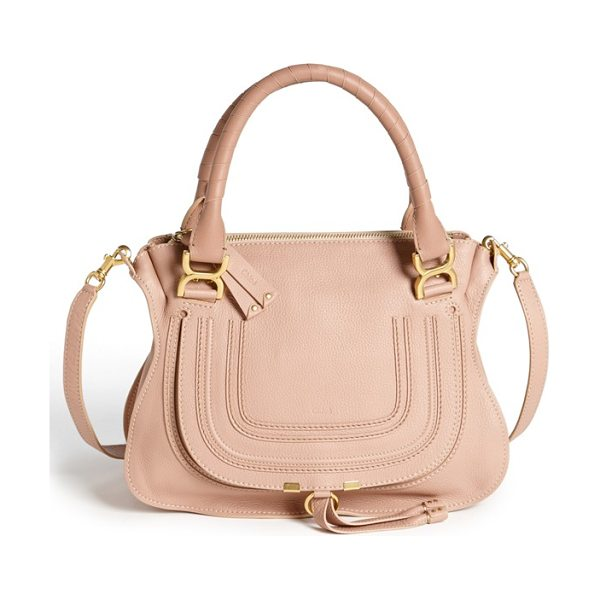 Chloe Medium marcie leather satchel in anemone pink - A textured, curvy flap-branded by subtle...