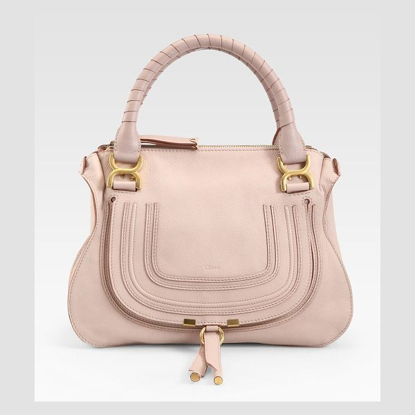 Chloe Marcie medium satchel in nude - Luxe calfskin defines this contoured crossbody design,...