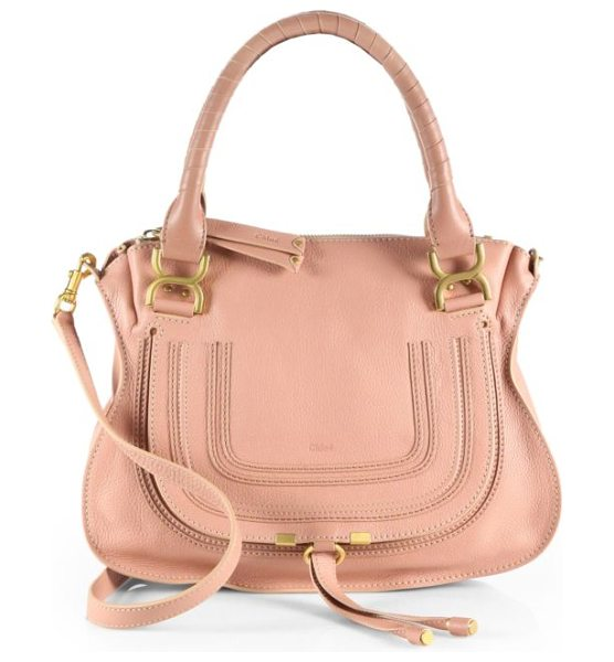 Chloe marcie medium satchel in anemonepink - Luxe calfskin defines this contoured crossbody design,...