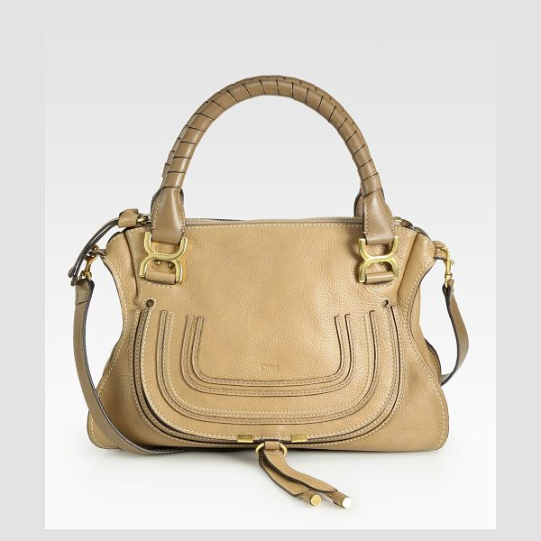 Chloe medium marcie leather satchel in nut