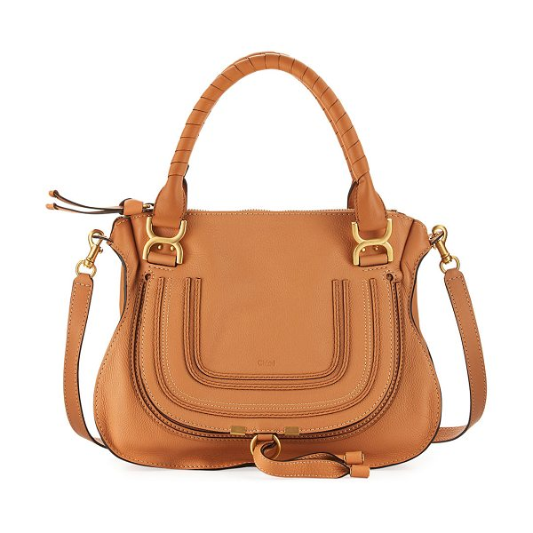 CHLOE Marcie Medium Satchel Bag - Chloe pebbled leather satchel bag. Golden hardware....