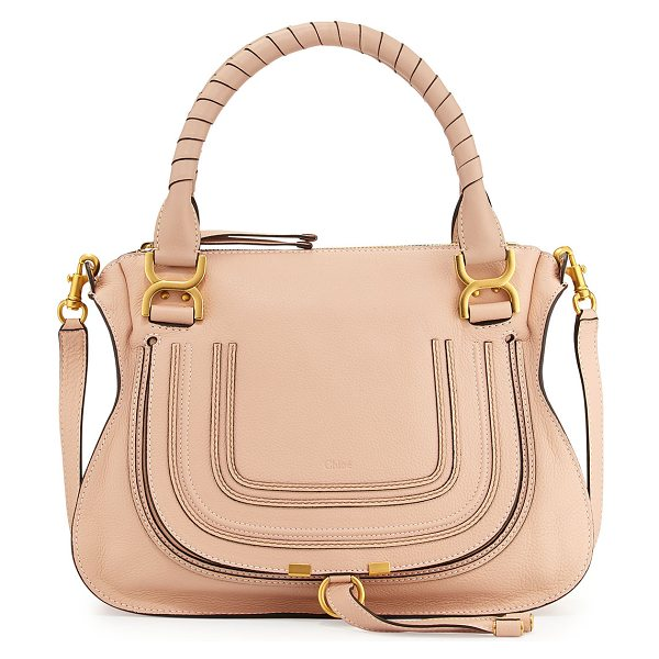 Chloe Marcie Medium Satchel Bag in blush nude - Chloe pebbled leather satchel bag. Golden hardware....