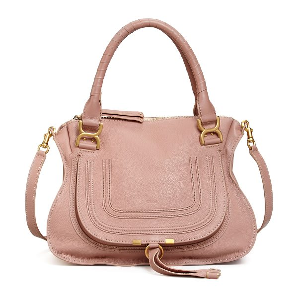 CHLOE Marcie Medium Satchel Bag in pink - Chloe grained calfskin satchel bag with antiqued brass...
