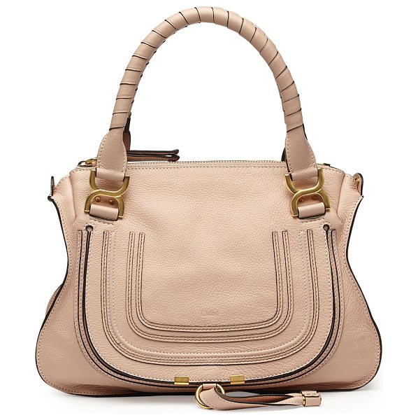 Chloe Marcie Medium Satchel Bag in blush nude - Chloe grained calfskin shoulder bag with golden...