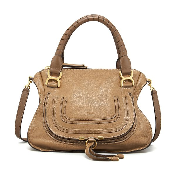 Chloe Marcie Medium Satchel Bag in nut - Chloe pebbled leather satchel bag. Golden hardware....