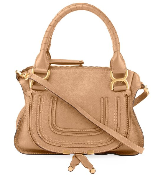 Chloe Marcie Small Double-Carry Satchel Bag in tan - Chloe soft leather satchel bag. Signature bow-shaped...