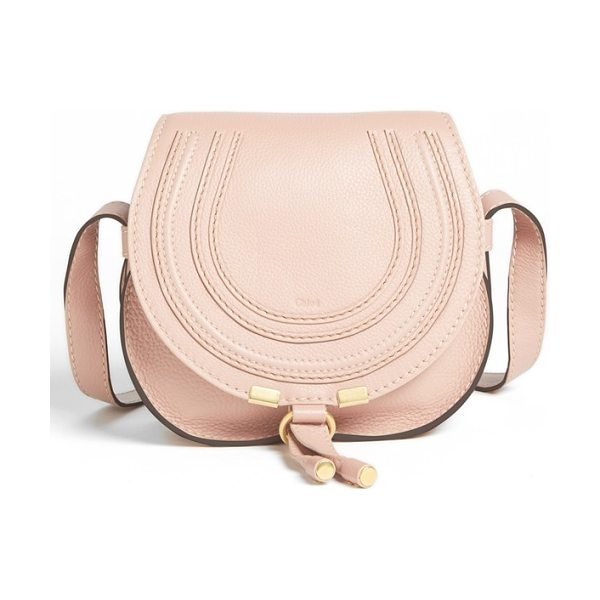 Chloe 'mini marcie' leather crossbody bag in beige - Curvaceous detailing ornaments the saddle-shaped flap of...