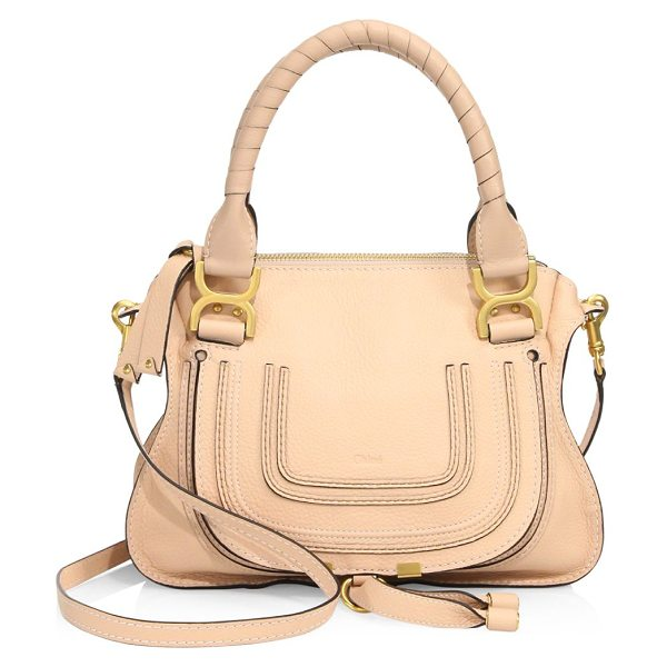 Chloe small marcie leather satchel in blush nude