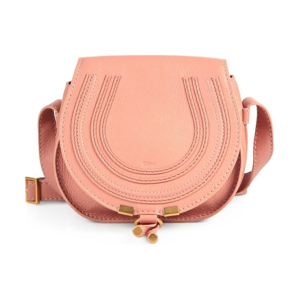 Chloe Marcie small crossbody bag in anemonepink - Rich leather defines this rounded crossbody silhouette,...
