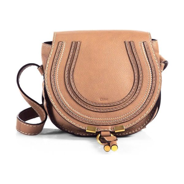 Chloe small marcie leather crossbody bag in nut - Rounded leather crossbody in rich leather. Adjustable...