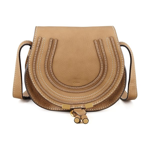 Chloe Marcie Small Leather Crossbody Bag in nut - Pebbled leather. Matte golden hardware. Buckled...
