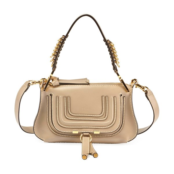Chloe Marcie Small Shiny Saddle Shoulder Bag in beige